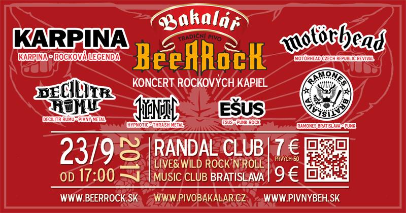 Bakalář BeerRock - bratislavský rockový koncert skupín Karpina, Motörhead Czech Republic Revival, Ramones Bratislava, Decilitr Rumu a iných...