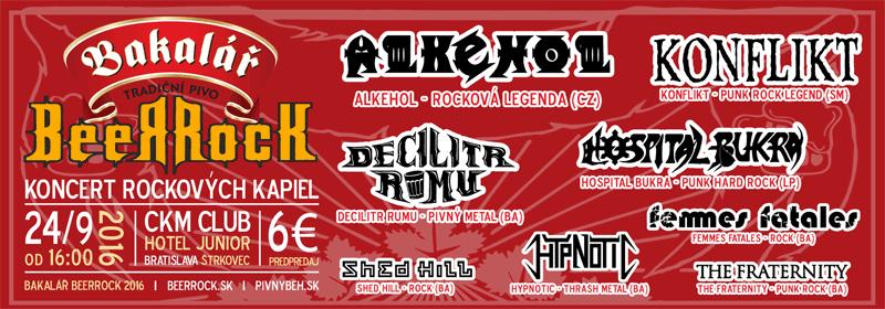 Bakalář BeerRock - bratislavský rockový koncert skupín Alkehol, Hospital Bukra, Decilitr Rumu a iných...